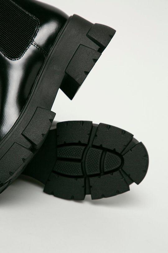 černá Steve Madden - Kožené kotníkové boty Tusk