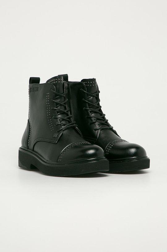 Big Star - Kožené kotníkové boty černá