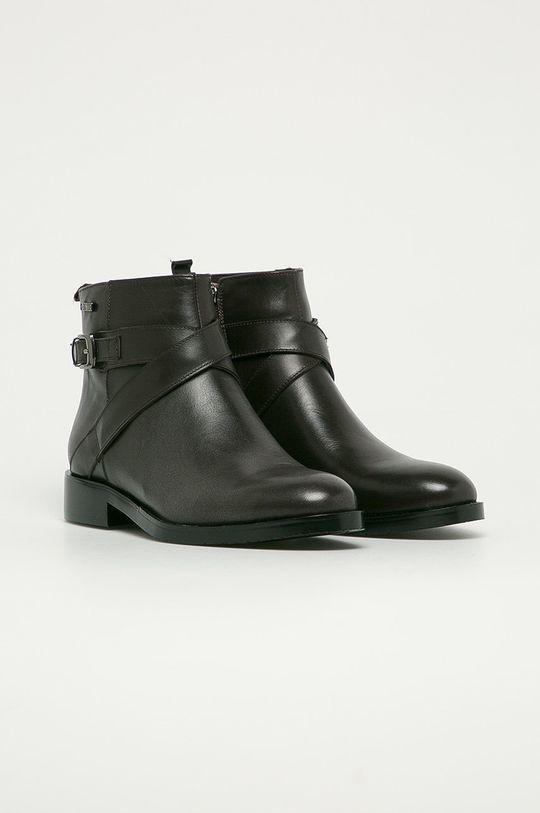 Big Star - Kožené kotníkové boty hnědá
