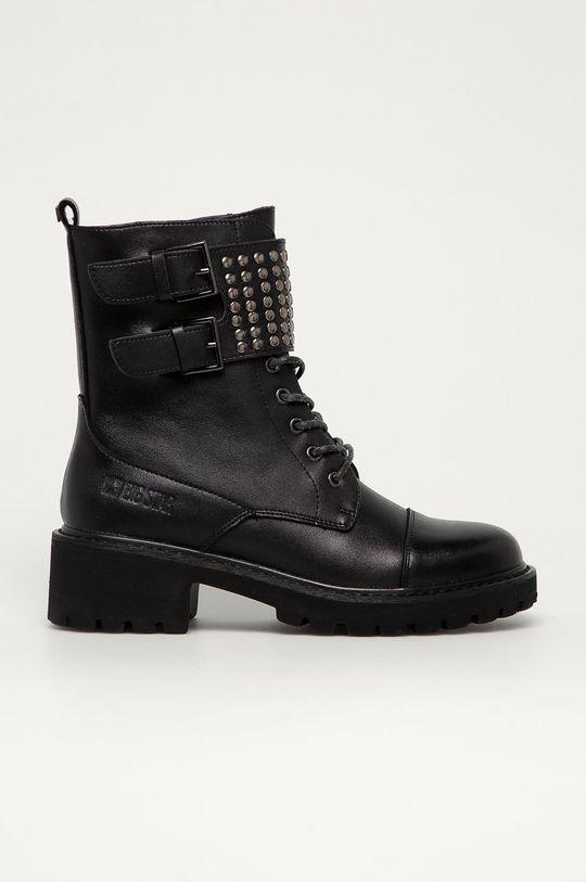 čierna Big Star - Kožené členkové topánky Dámsky