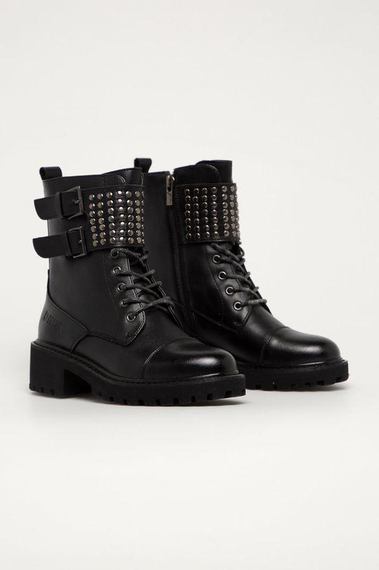 Big Star - Kožené členkové topánky čierna