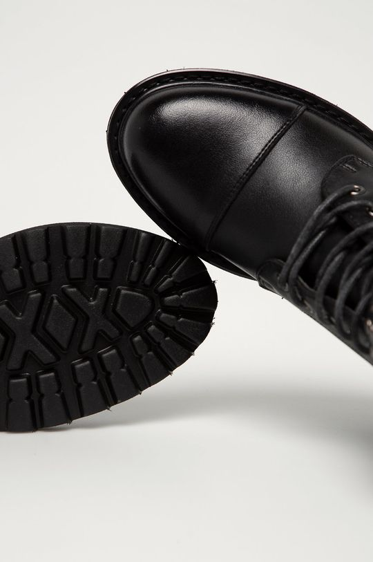 čierna Big Star - Kožené členkové topánky