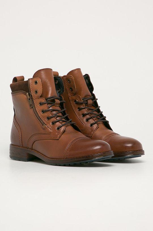 Mustang - Kožené kotníkové boty kávová