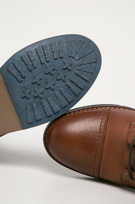 kávová Mustang - Kožené kotníkové boty
