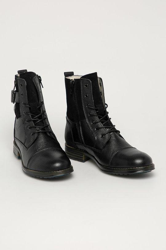 Mustang - Kožené kotníkové boty černá