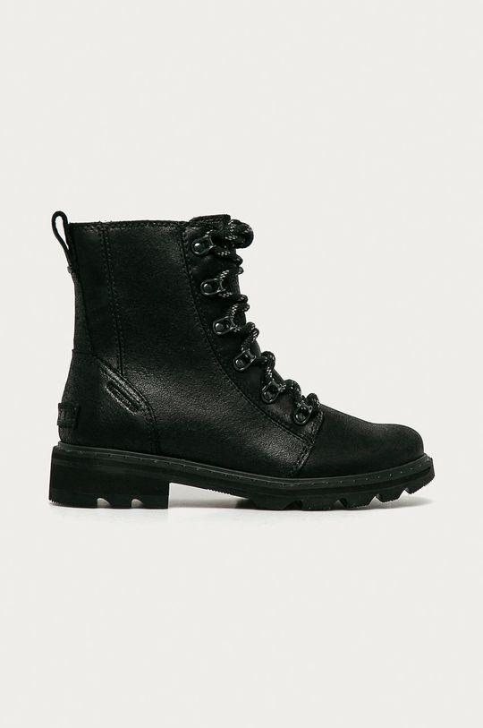 čierna Sorel - Kožené členkové topánky Lennox Lace Dámsky