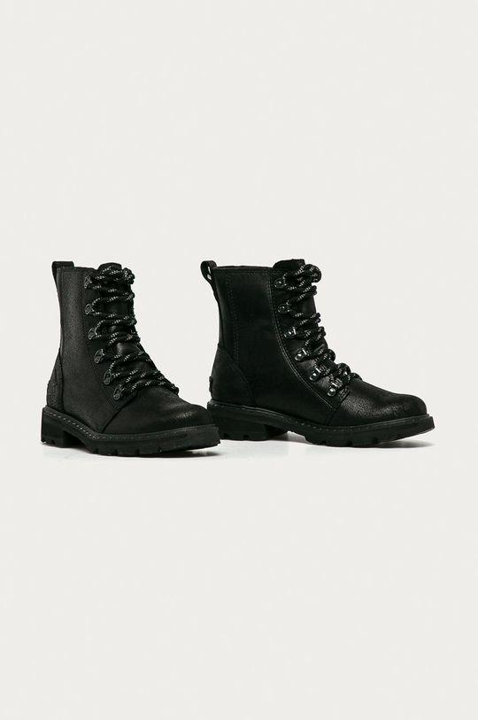 Sorel - Kožené členkové topánky Lennox Lace čierna