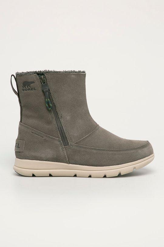 tlumená zelená Sorel - Semišové boty Explorer Zip Dámský