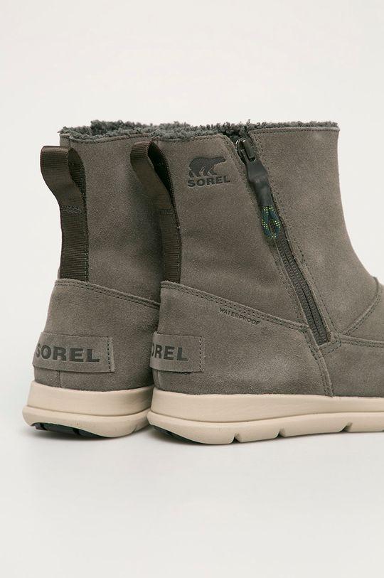 tlumená zelená Sorel - Semišové boty Explorer Zip