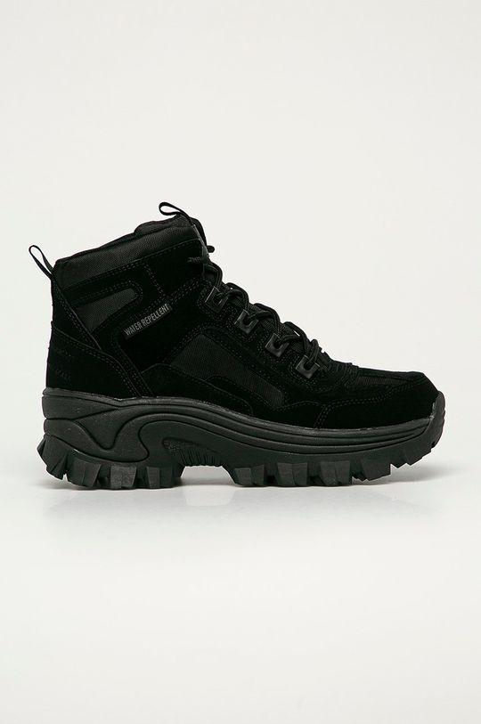 černá Skechers - Kožené boty Dámský