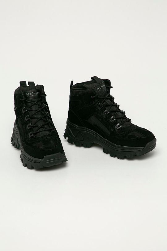 Skechers - Kožené boty černá