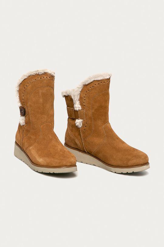 Skechers - Cizme de zapada din piele intoarsa maro auriu