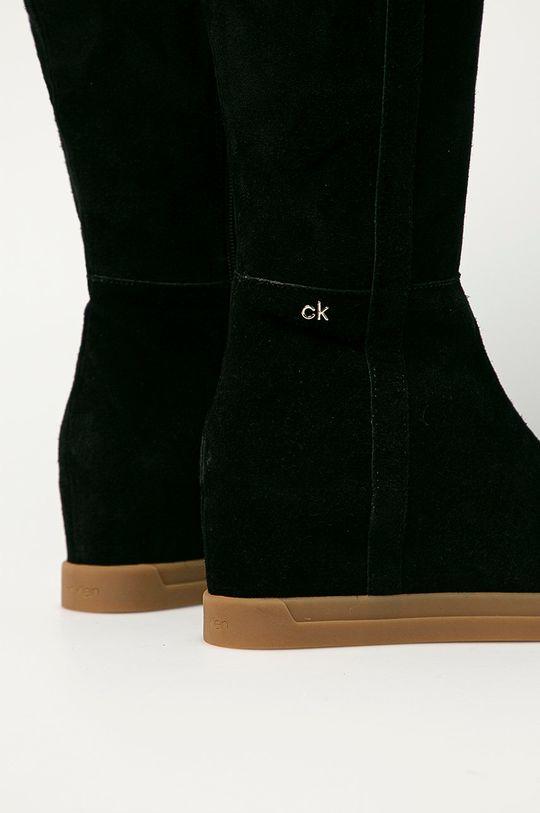 Calvin Klein - Kozaki zamszowe Cholewka: Skóra zamszowa, Wnętrze: Materiał tekstylny, Podeszwa: Materiał syntetyczny