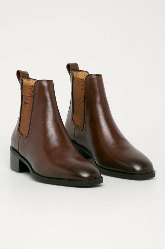 Gant - Sztyblety skórzane Dellar brązowy