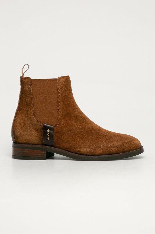 kávová Gant - Semišové kotníkové boty Dámský
