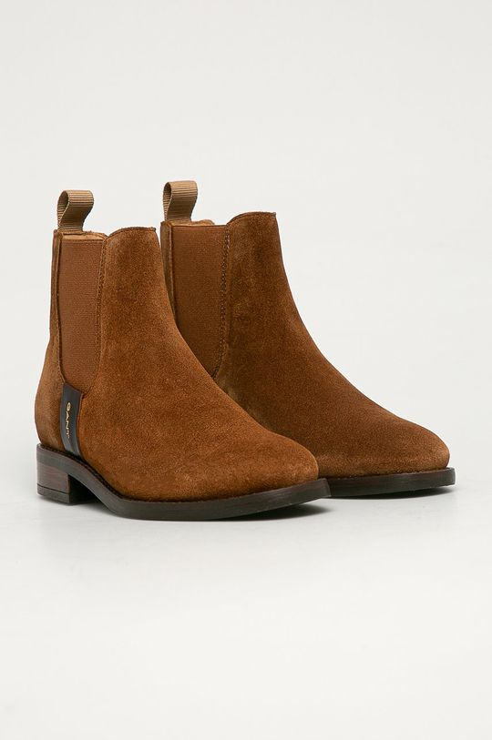 Gant - Semišové kotníkové boty kávová