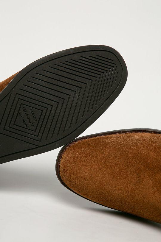 kávová Gant - Semišové kotníkové boty