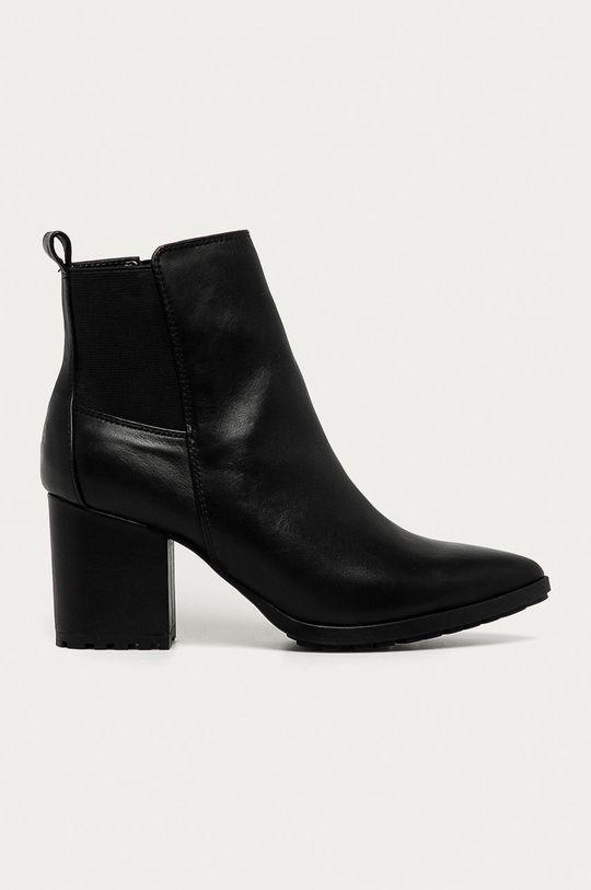 čierna Aldo - Kožené členkové topánky Frasillo Dámsky