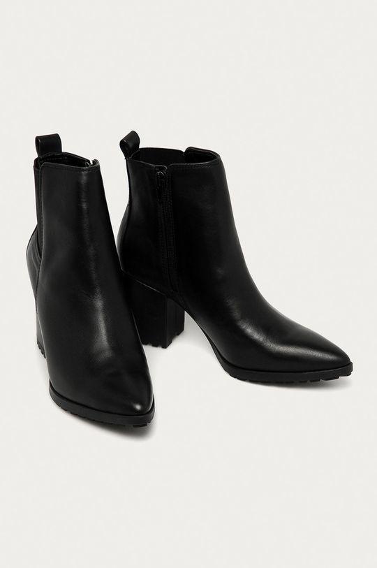 Aldo - Kožené členkové topánky Frasillo čierna