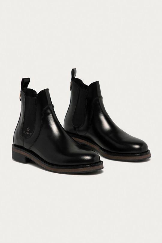Gant - Kožené kotníkové boty Maliin černá