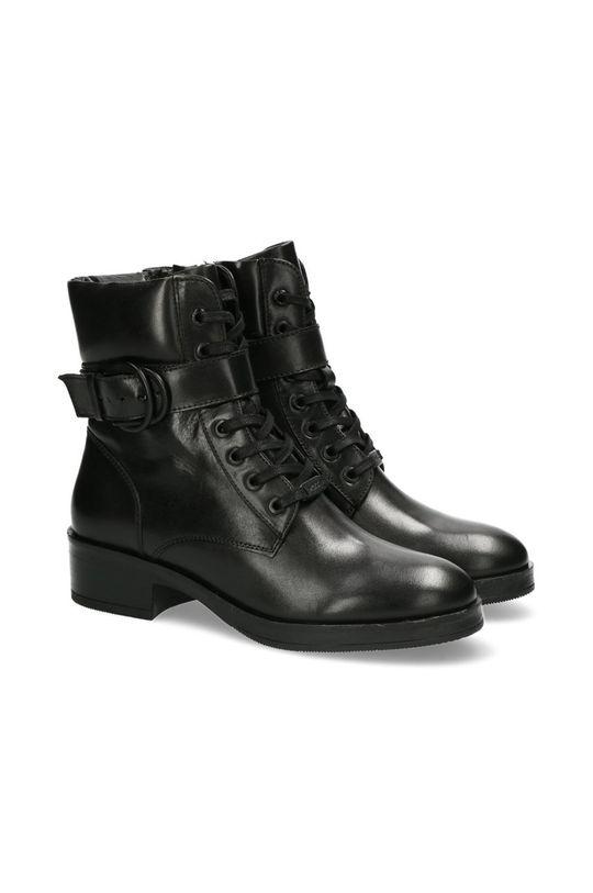 Mexx - Kožené kotníkové boty Booties Daley černá