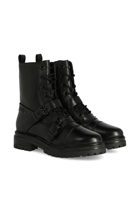 Mexx - Kožené kotníkové boty Booties Fire černá