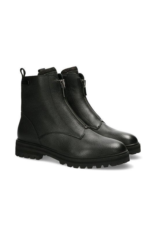 Mexx - Kožené kotníkové boty Booties Flame černá