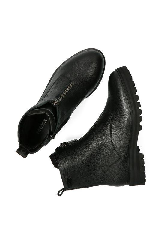 černá Mexx - Kožené kotníkové boty Booties Flame