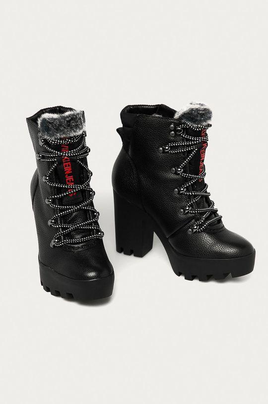 Calvin Klein Jeans - Kožené kotníkové boty černá