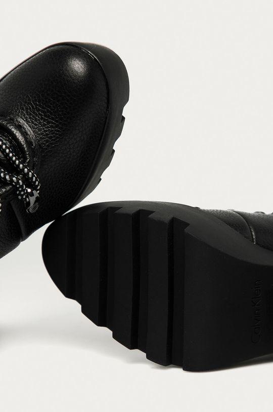 černá Calvin Klein Jeans - Kožené kotníkové boty