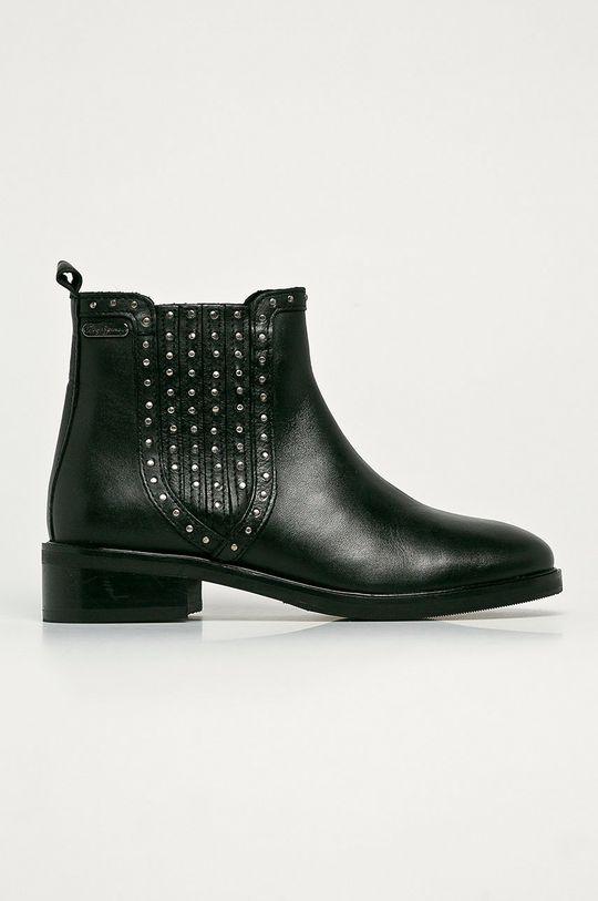 čierna Pepe Jeans - Kožené členkové topánky Maldon Esse Dámsky