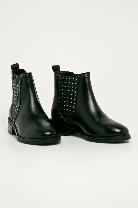 Pepe Jeans - Kožené členkové topánky Maldon Esse čierna