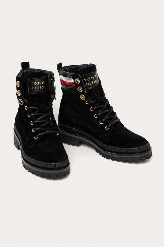 Tommy Hilfiger - Pantofi de piele intoarsa negru