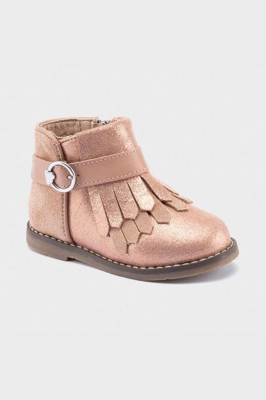 ružová Mayoral - Detské semišové topánky Dievčenský