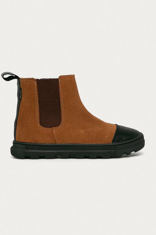 zlatohnědá Mrugała - Dětské kožené boty Dívčí