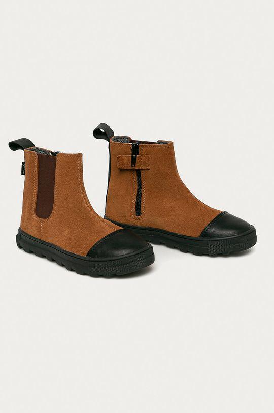 Mrugała - Dětské kožené boty zlatohnědá