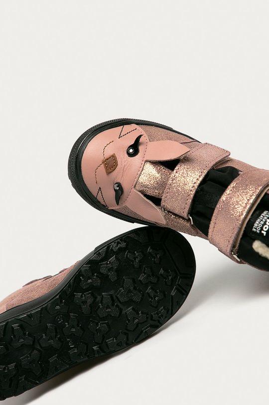 ružová Mrugała - Detské semišové topánky