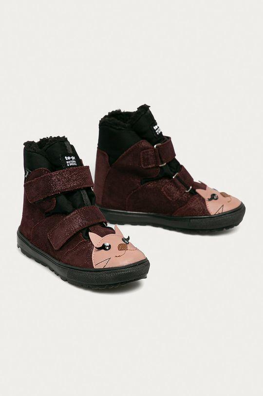 Mrugała - Detské semišové topánky gaštanová