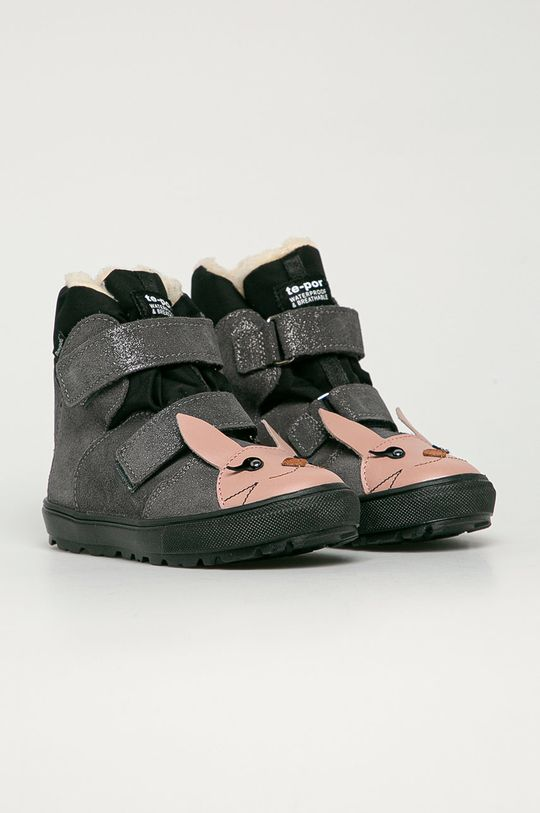 Mrugała - Detské semišové topánky strieborná