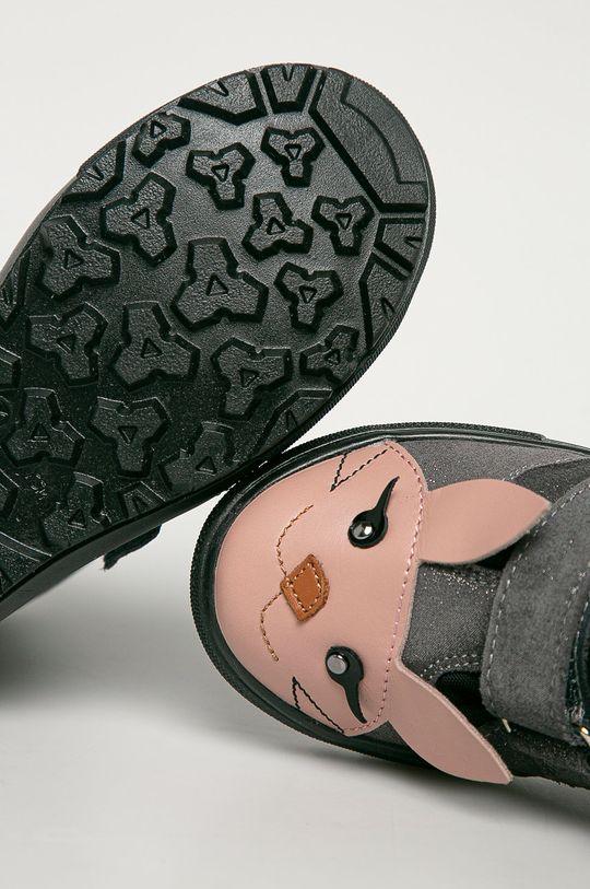 strieborná Mrugała - Detské semišové topánky
