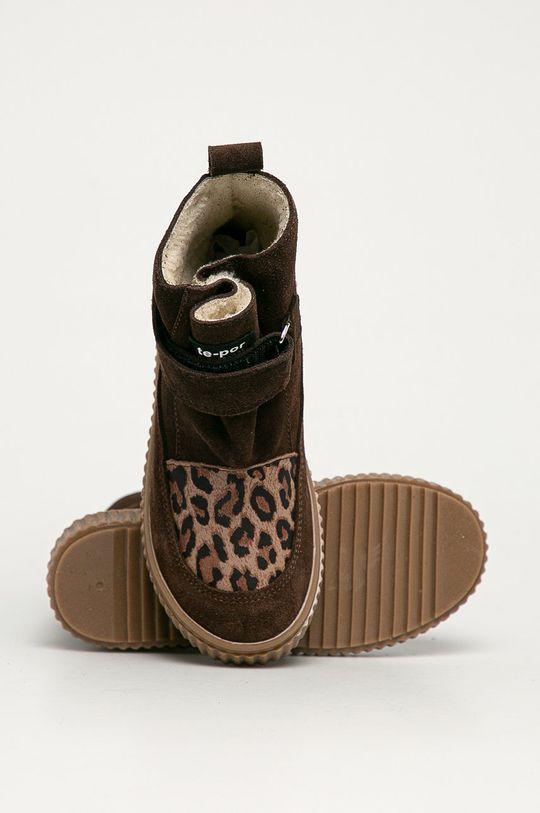 hnědá Mrugała - Dětské semišové boty