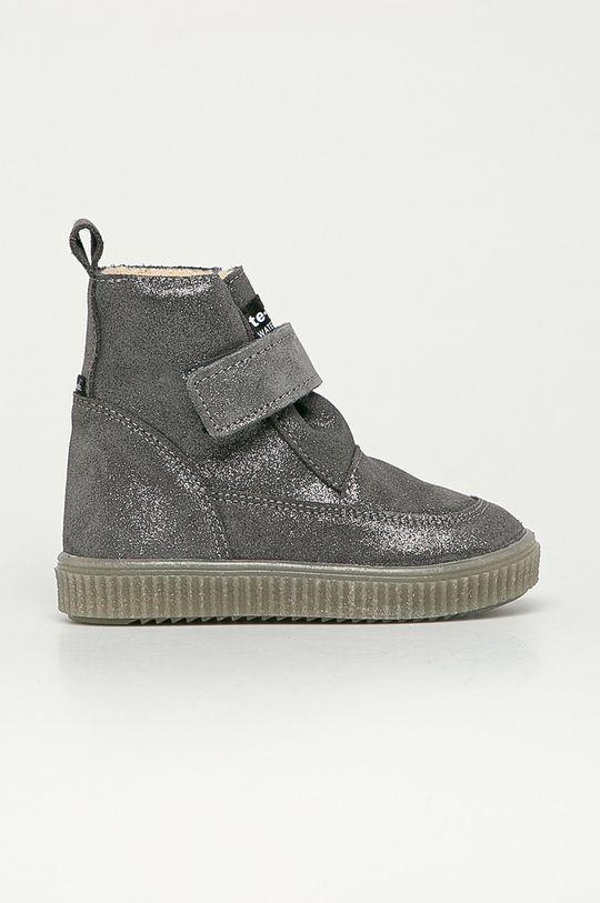 stříbrná Mrugała - Dětské semišové boty Dívčí