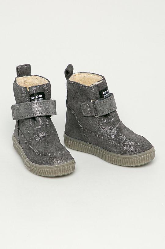 Mrugała - Dětské semišové boty stříbrná