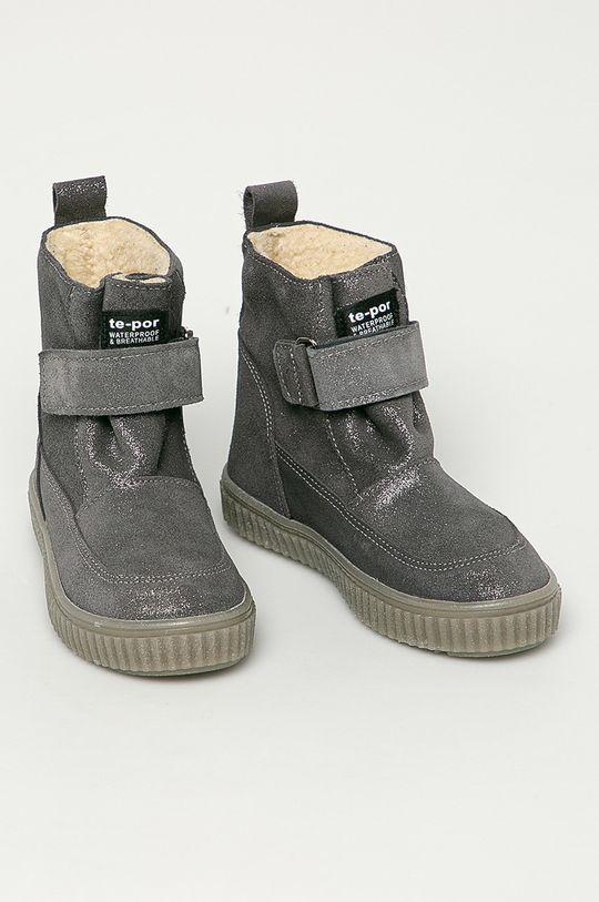 Mrugała - Dětské semišové boty šedá