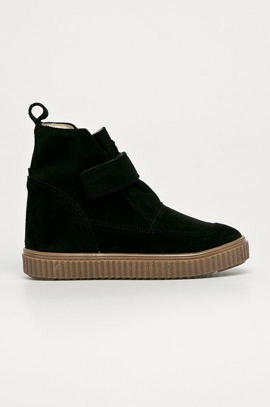 černá Mrugała - Dětské semišové boty Dívčí