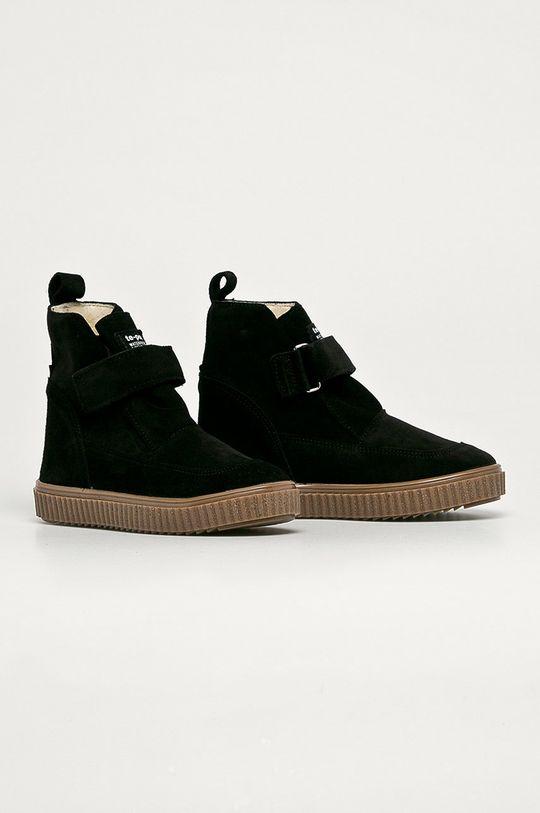 Mrugała - Dětské semišové boty černá