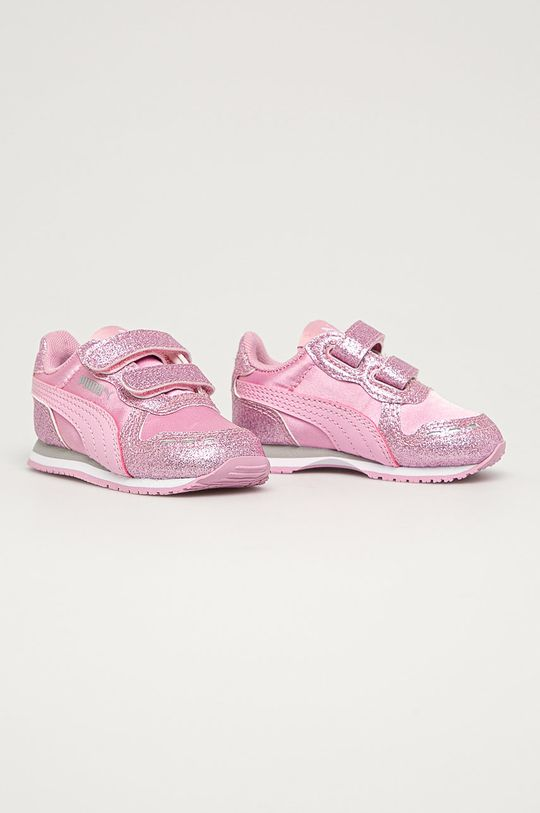 Puma - Pantofi copii Cabana Racer Glitz V roz murdar