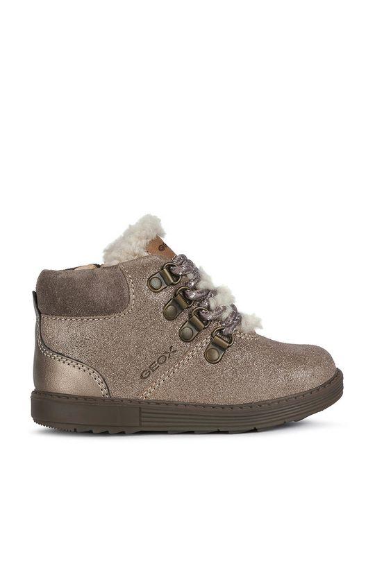 sivá Geox - Detské kožené topánky Dievčenský