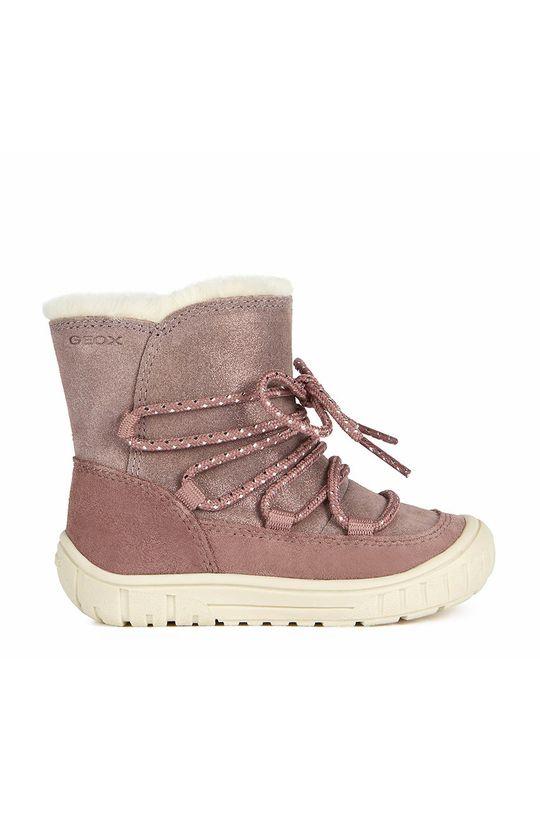 roz Geox - Pantofi din piele intoarsa pentru copii De fete