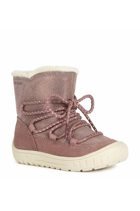Geox - Pantofi din piele intoarsa pentru copii roz
